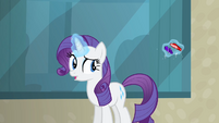 Rarity giving her gems to the bellhop S4E08