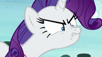 Rarity sneering angrily at Rainbow Dash S8E17
