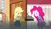 Applejack and Pinkie look at burnt pies SS14