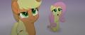 Applejack suspicious; Fluttershy scared MLPTM.png