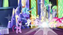 Discord pops in between the ponies S9E1