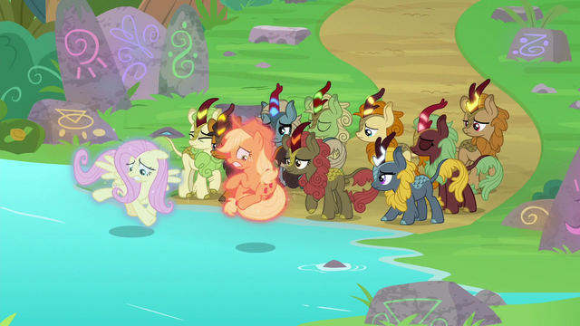 File:Fluttershy and AJ about to touch the water S8E23.png