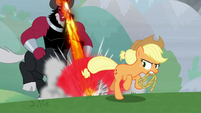 Lord Tirek chasing down Applejack S9E25