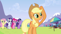 Other ponies wave Rainbow off S3E7
