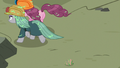 Pinkie and Maud run away from quarray eel S7E4.png