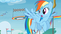 Rainbow Dash flying in Rainbow Falls S4E10