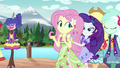 Rarity encourages Fluttershy onto the runway EG4.png