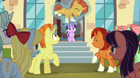Sunburst's family and friends happy for him S6E1