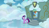 Twilight and Rainbow leave the classroom S6E24