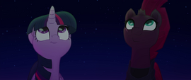 Twilight and Tempest admiring the fireworks MLPTM