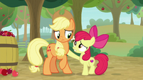 Apple Bloom puts a hoof on Applejack S9E10
