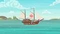 Applejack, Rarity, and Pinkie's ship sets sail S6E22.png