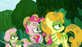 Fluttershy, Pinkie, and Golden Harvest moves their eyes to Zecora S5E26.png