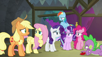 Main ponies and Spike losing hope S8E7