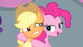 Pinkie Pie with hooves around Applejack S4E24.png