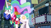 Princess Celestia galloping off-screen S9E13