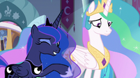 Princess Luna winking at the Mane Six S9E2