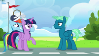 Rainbow Dash plugs Twilight's muzzle S6E24
