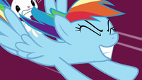 Rainbow Dash rocketing toward the ground S8E5