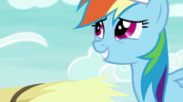 Rainbow looks awkwardly grateful at AJ S9E15