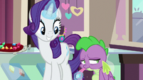 Rarity having Spike taste the blue gem S9E19