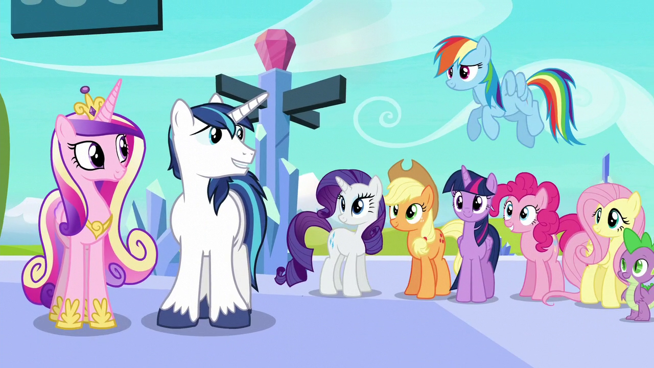 Shining And Cadance Looks At Mane 6 Spike S6E2