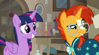 Twilight and Sunburst look at Starlight Glimmer S7E24