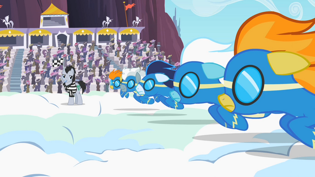 File:Wonderbolts getting ready to race S2E9.png