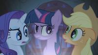 Applejack, Rarity, and Twilight telling stories S1E8