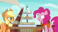 Applejack and Pinkie behold Rarity's snacks S6E22