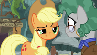 Applejack smirking at Professor Fossil S7E25