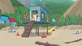 Applejack stretching by the lifeguard tower EGDS20.png