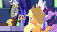 Discord makes a rainbow in his hand S9E1