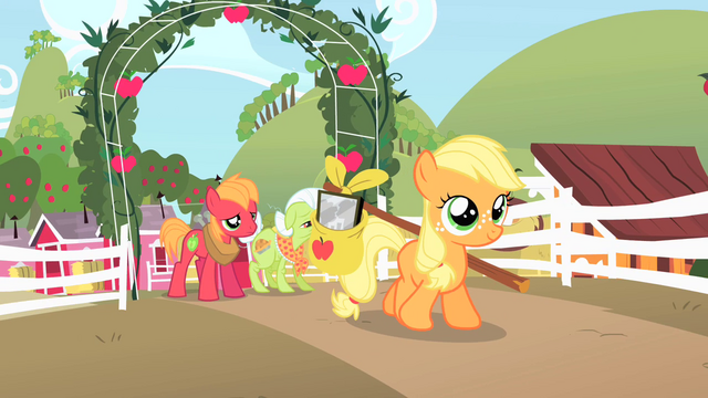 File:Filly Applejack leaving farm S1E23.png
