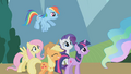 Main 5 put on poker faces before Celestia S1E10.png