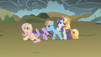 Main ponies trying to push Fluttershy S1E7