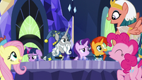 Mane Six and Pillars cheering over their plan S7E26