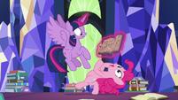 Pinkie Pie limbos under Star Swirl's journal S7E25