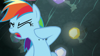 Rainbow Dash brushing rocks off herself S8E17