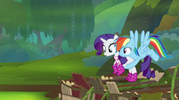 Rainbow Dash picking up Rarity S8E17