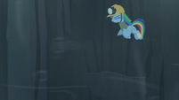 Rainbow tries to fly but is blown away by the wind S5E8