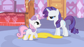 Smiling Sweetie Belle and angry Rarity S1E17.png
