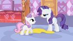 Smiling Sweetie Belle and angry Rarity S1E17
