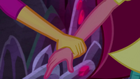 Sunset Shimmer grabs Gloriosa Daisy by the arm EG4