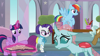 Twilight Sparkle and Rarity notice Ocellus S8E1