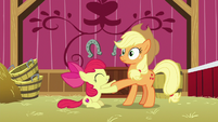 Apple Bloom shakes Applejack's hoof S9E10