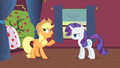 Applejack and Rarity talking next to Bloomberg S1E21.png