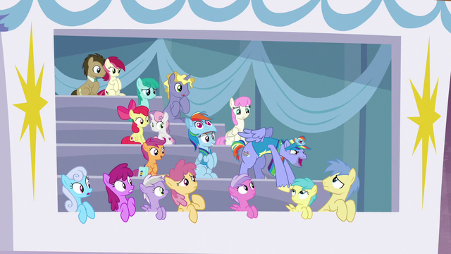 File:Bow Hothoof's cheering attracts ponies' eyes S7E7.png