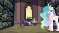 Celestia begins talking to Twilight and Spike S2E20