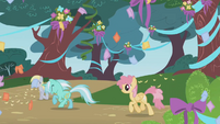 Derpy, Lyra Heartstrings, and Orange Swirl run for the party S1E02